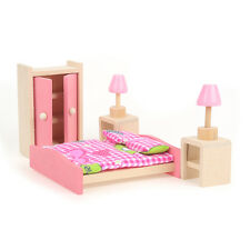 Kids Doll House Furniture Set Miniature Wooden Family Child Play Bed Room Toy C5
