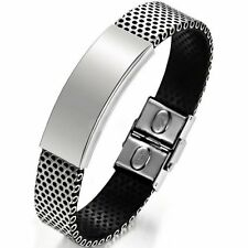 Men's Classic Black Stainless Steel Cuff Bracelet Link Fashion Chain Bangle Gift