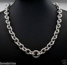 """Judith Ripka Chain Link Smooth Textured Sterling Silver 20"""" Cable Link Necklace"""