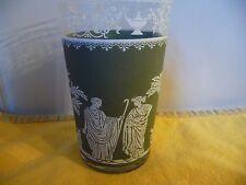 Vtg. Jeannette Glass Green Hellenic Greek Jasperware 10 Ounce Glass Tumbler
