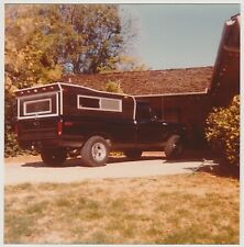 Vintage 80s PHOTO Camper Truck Parked In House Home Driveway