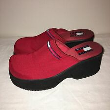 Vintage TOMMY HILFIGER 90s Women's 8 Chunky Red Platform Shoes Heels