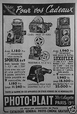 PUBLICITÉ 1954 PHOTO-PLAIT SPORTEX 6X9 LUXOFLEX PROJECTEUR LANTERNE- ADVERTISING