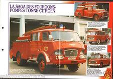 Fire engine Fourgons-Pompes Tonne Citroën FPT T55 C700 FICHE Pompier FIREFIGHTER