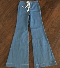New Free People BLUE Foxy Lace Up 70s Bell Bottom Flare Jean Pant SZ 0 XS