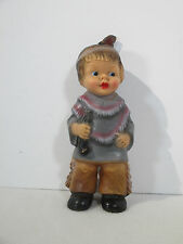 Squeaky Toy Native American Indian Boy Vintage Rubber West Germany Works