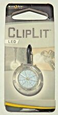"New!!  Nite Ize Cliplit LED 1 5/8"" Overall White LED Clear Composition  A1"