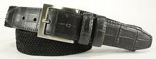 NWT TOMMY BAHAMA MEN'S BIG & TALL NYLON & LEATHER STRETCH BELT - BLACK - SIZE 48