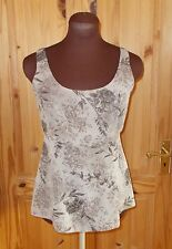 KALEIDOCSOPE beige brown floral chiffon camisole vest tunic top gypsy boho 12 40