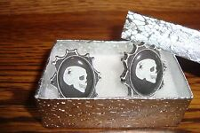 SKULL with Spider Dome Cuff links #1 Pair (Two)  Silver Plated Gift Box / New