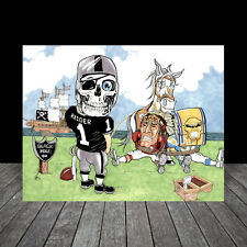 OAKLAND RAIDERS FOOTBALL ART, artist signed, auto., skeleton in jersey & helmet