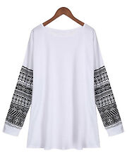 Plus Size Womens Long Sleeve Tops Cotton Pullover Casual Blouse Loose T Shirt