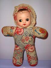 BAMBOLA VINTAGE SUONANTE anni 60 PETIT POUPEE POUET BELLA doll toy tessuto fiori