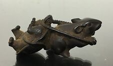 Marvelous Antique Japanese Netsuke Wood Mouse & Turtle Statue