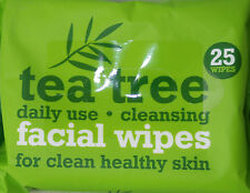 TEA TREE FACIAL WIPES PACK OF 25 x  DAILY USE FOR HEALTHY SKIN REMOVE MAKEUP