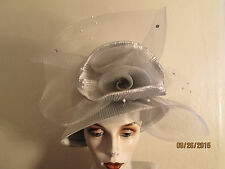 Chic Womens Peach Bucket Style Silver Metallic Special Occasion Festive Hat