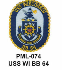 """USS WI BB 64 Embroidered Military Large Patch, 4"""""""