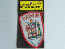 VINTAGE DARWIN NT COAT of ARMS EMBROIDERED SOUVENIR PATCH WOVEN CLOTH SEW BADGE