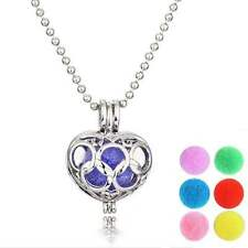 Silver Double Wedding Ring Heart Diffuser Aromatherapy Perfume Locket Necklace