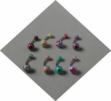 Pack of 8 Surgical Steel 1.6mm Belly / Navel Bar & Multi-Coloured Acrylic Balls