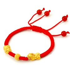 Fine Authentic 24k Yellow Gold Two Pixiu with Bead Bracelet 16.5cm Length