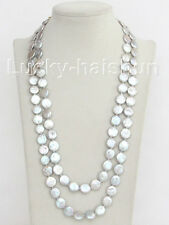 "length 48"" 12mm coin fastener gray freshwater pearls necklace j10381"