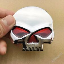 3D Chrome Metal Skull Quality Motorcycle Fuel Tank Emblem Badge Decal Sticker