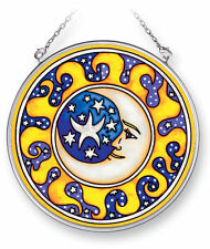 "AMIA STAINED GLASS SUNCATCHER 4.5"" ROUND MOON AND STARS   #5319"