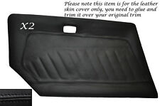 BLACK STITCH 2X DOOR CARD LEATHER SKIN COVER FITS DATSUN 240Z 260Z 280Z