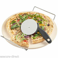 VonShef Ceramic Pizza Baking Stone Set Chrome Stand 33cm + FREE Pizza Cutter