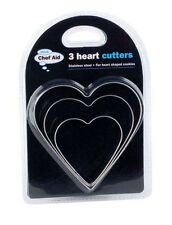Chef aid 3 Sizes Heart Shaped Cookie Biscuit Cutters Metal Valentines Day 633318