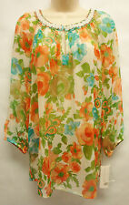 "*NWT Charter Club ""Somerset Garden"" Flowery Sheer 3/4 Sleeve Blouse/Top sz 8"
