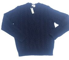 NWT Wallace & Barnes Shetland Wool Cable Sweater Sz S Navy Blue $118
