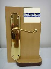 HERITAGE BRASS MERIDIAN LONG BACKPLATE LATCH HANDLE POLISHED BRASS FINISH - NEW