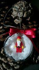 Lego Christmas tree 8cm bauble decoration Santa / Father Christmas key ring gift