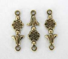Vintage Style Flower Connector Antiqued Brass Ox Drop Link Charm 17mm