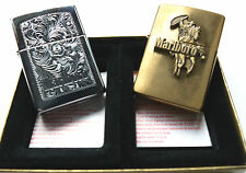 (PRL) ZIPPO COUPLE VENETIAN BRASS 1999 COLLECTION SMOKE VENEZIANO + COWBOY SIGA