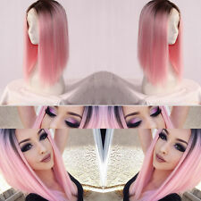 Heat Resistant Synthetic Lace Front Ombre Wigs Long Straight Bob Wigs 16 inch