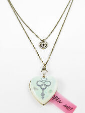 BETSEY JOHNSON 'Vintage Lockets' Mint Key Print Pave Heart Duo Necklace $48