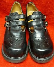 DOC MARTENS Black Leather T-Strap Mary Janes-Chunk Heel US SIZE 9-BRITISH MADE