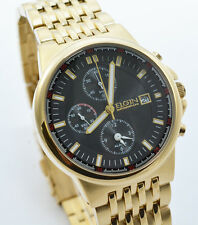 Brand New Elgin Gold Stainless Steel Chronograph Black Dial  Men`s Watch FG1010