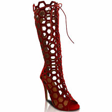 NEW WOMENS HIGH HEEL STILETTO CALF HIGH KNEE CUT OUT PEEP TOE LACE UP BOOTS SIZE