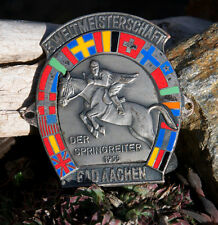 VINTAGE AUTOMOBILE CAR BADGE # 3. WORLD CHAMPIONSHIP SHOW JUMPER BAD AACHEN 1955