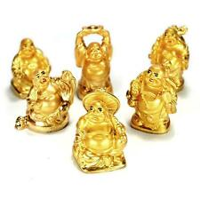 "SET OF 6 GOLDEN HAPPY BUDDHA STATUES 2"" Gold Color Hotei Fat Laughing Resin Lot"