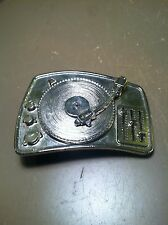 Silver Star Brand DJ BELT BUCKLE Turntable Spinning Record Player! Music 2004