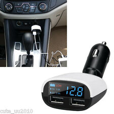 NEW Retail Portable 2USB Car Charger Adapter Fast Charging with LCD Screen