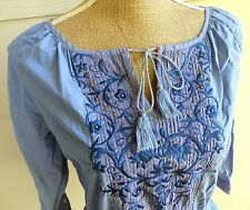 Johnny Was Boho Hippie Blue Floral Embroidered Peasant Shirt Blouse Top XS/S