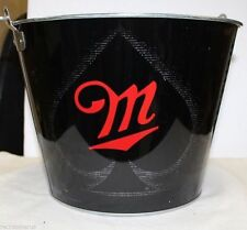Lot of 5 Miller  New Fortune  5 QT Black Metal Ace Ice  Bucket