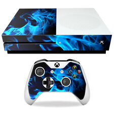 Skin Decal Wrap for Microsoft Xbox One S Blue Flames