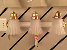 Quoizel FA886 WH  Bathroom Vanity Wall Fixture 3 Light White with Polished Brass